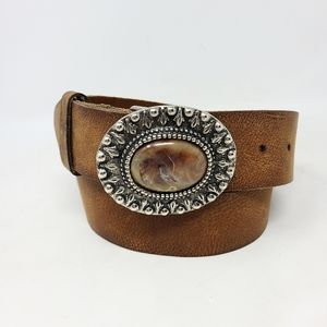 Sonoma Sz L Large Leather Belt Brown Agate Stones